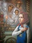 пред иконою Божьей Матери Казанская